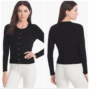 WHBM Long Sleeve Snap-Front Cardigan In Black